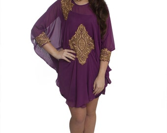 Purple Short Tunic Dress| kaftan dress|short dress| Party Dress| Tunic Dress | kaftans| Dresses| Evening Wear| Adjustable| Unique kaftan