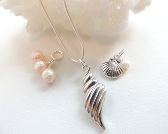 Sea Shell Charm Necklace, Pearl Charm Necklace, Sealife Necklace, Charm Necklace, Beach Wedding, Shell Charms. A384
