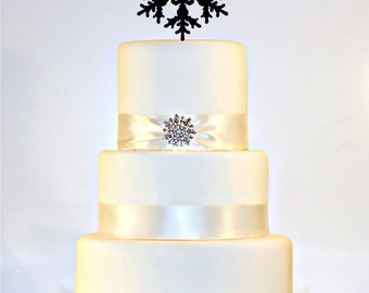 Snowflake Winter Wedding Cake Topper Monogram with YOUR LAST INITIAL in any letter A B C D E F G H I J K L M N O P Q R S T U V W X Y Z