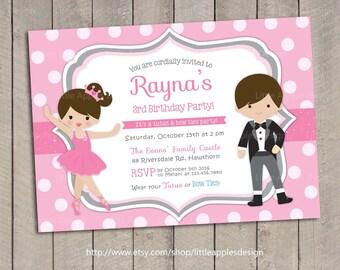 Ballerina Invitation / Ballerina Birthday / Tutus and Tie Invitation / Tutus and Bow Ties Invitation / Pink Tutus Invitation / Printable