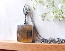 The First Rose necklace - rustic sterling and Regency Rose Plume agate necklace, hand pierced back, on sterling silver chain, one of a kind