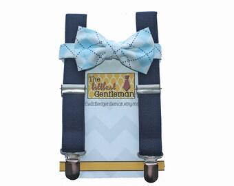 Baby Toddler Boys Navy Suspenders and Navy Blue Bow Tie, Ringbearer Navy Wedding, Kids Bow Tie, Boys suspenders Navy