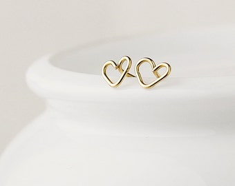 Little gold heart earrings - 14k gold fill - tiny heart earrings - heart post earrings - gold earrings uk -  girlfriend gift