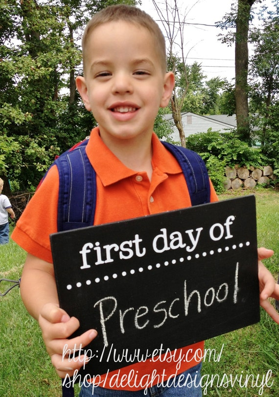 First Day of School Chalkboard Sign - Two-sided, Reversible First Day ...