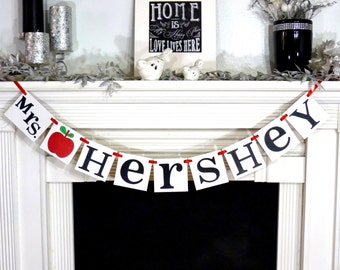 Teacher Gift Personalized / Teacher Banner / Room Decor / Custom Banner / Teachers Name Sign / Garland / Classroom / Teacher Christmas Gift