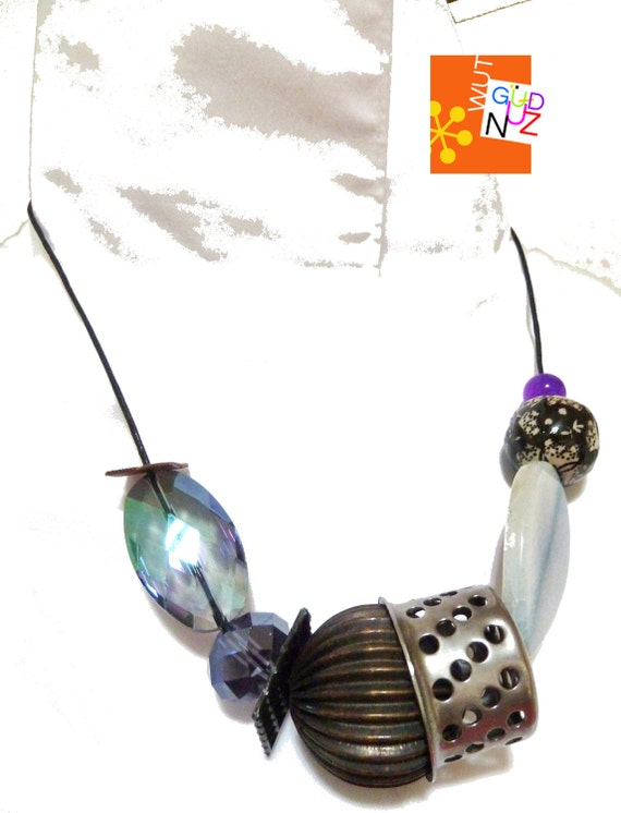 sculptural necklace, contemporary, OOAK, eclectic, mixed bead, industrial, blue, iridescent, stainless, black and white, aurora borealis