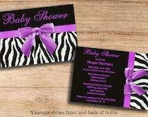Baby Shower Invitations Zebra Stripes Purple Bow Printable DIY Double Sided JPEG Cheap Invites Personalized Custom Templates