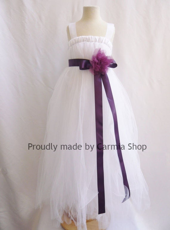 White Flower Girl Dress With Plum Sash 9
