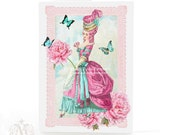 Marie Antoinette, card, pink flowers, French, vintage style, birthday card, pink, paper lace, blue butterflies, blank inside, all occassion