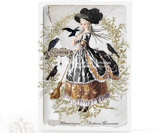 Halloween card, witch, Marie Antoinette, black crows, broomstick, poison, gold, French, vintage style, spider, holiday card