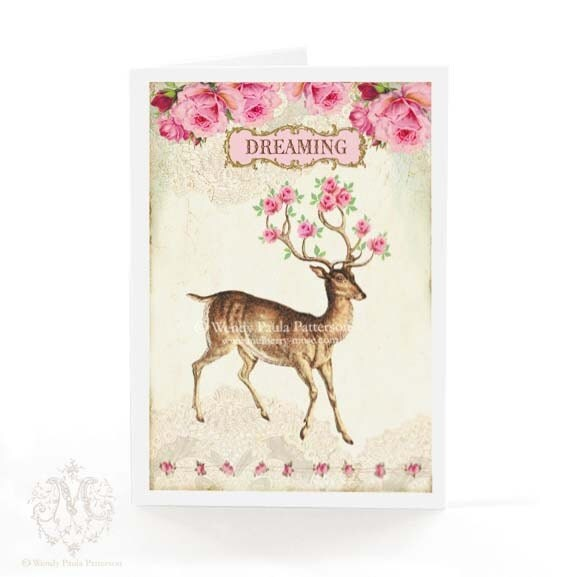 Deer, reindeer, Christmas card, antlers decorated in pink roses, dreaming, vintage cream lace, woodland, holiday card, by Mulberry Muse