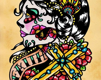 Day of the Dead Cross Woman FAITH Old School Tattoo Art Print 5 x 7, 8 x 10 or 11 x 14