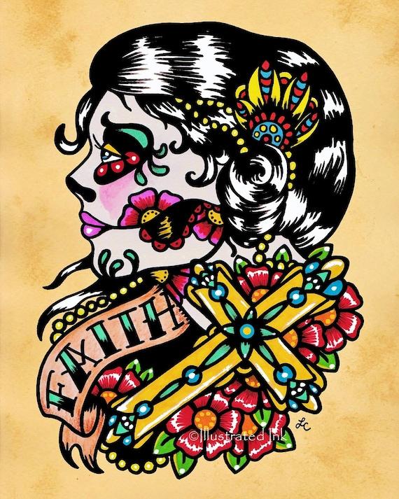 Day of the dead cross woman faith old school tattoo art print for Old school day of the dead tattoo