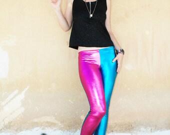 Agoraphobix Harley Quinn bubble gum pink & turquoise wet look leggings | metallic leggings