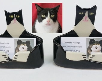 One custom handmade by artist: Cat or Dog Lover Business card Holder ceramic  unique whimsical made to order Gift Certificate