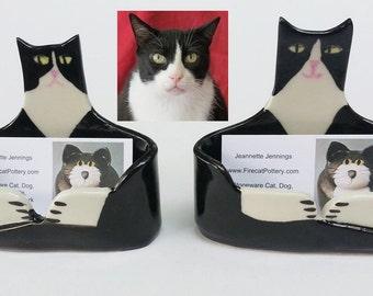 Custom ceramic  handmade by artist: Cat Lover Business card Holder ceramic  unique whimsical made to order