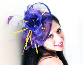 Purple fascinator with purple silk irises and yellow feathers PURPLE YOUTH