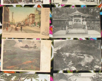 Collection of a WW2 soldier's 40s Asia Philippines postcards landscapes cityscapes temples characters photo prints ephemera decor art supply