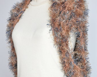 NY SALE - Handknitted Fuzzy Shawl/Shrug