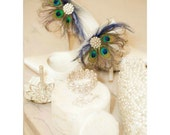RESERVED For SANDRA Only. N/R Deposit Shoe Clips Peacock Fan. Bride Bridal Bridesmaids, Birthday Glamour, Teal Metallic