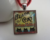Black Cat Fortune Telling Necklace Red Yellow Glass Pendant Boho Free Shipping