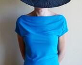 Blue Woman Blouse, Teal Blue Top, Short Sleeve, Drapped Neckline