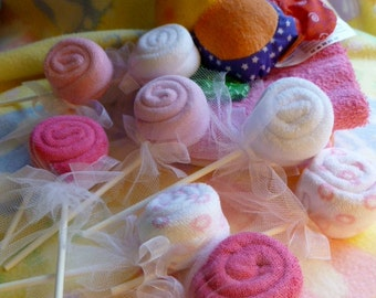 Baby Washcloth Lollipops..Bundle of 10..Baby Shower Favors..Boy..Girl..Neutral..Economical Party Favors..One Free Lollipop :)