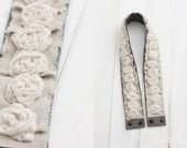 dslr camera strap cover - cream rosettes - linen ruffle camera strap cover