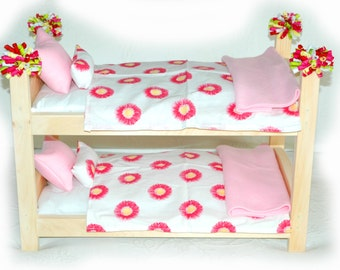 Double Doll Bunk Bed - Daisy Garden American Made Girl Doll Bunk Bed - Fits 18 inch dolls and AG dolls