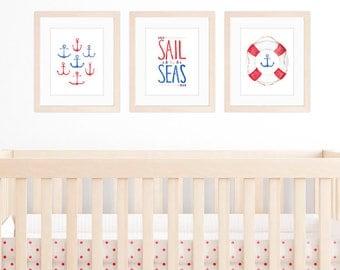 Nautical Nursery Set of 3 8x10 / A4 Prints, Nautical Nursery Art, Watercolour Anchors and Nautical Illustrations