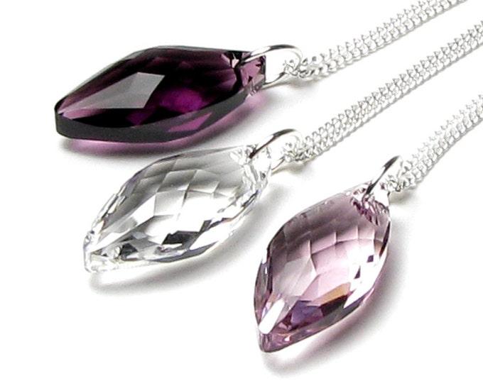 Swarovski Crystal Navette Drop Pendant Necklace, Amethyst, Clear, Light Amethyst, Romantic Amethyst Jewelry, Clear Crystal Drop, Purple