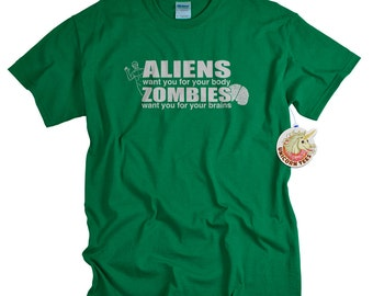 Alien Shirt Zombies Aliens T Shirt Zombie Clothing Geekery Tshirt for Men Women and Teens