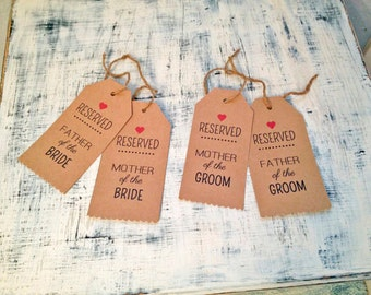 Reserved seat tags for wedding ceremony - Mother & Father - rustic wedding theme, set of 4