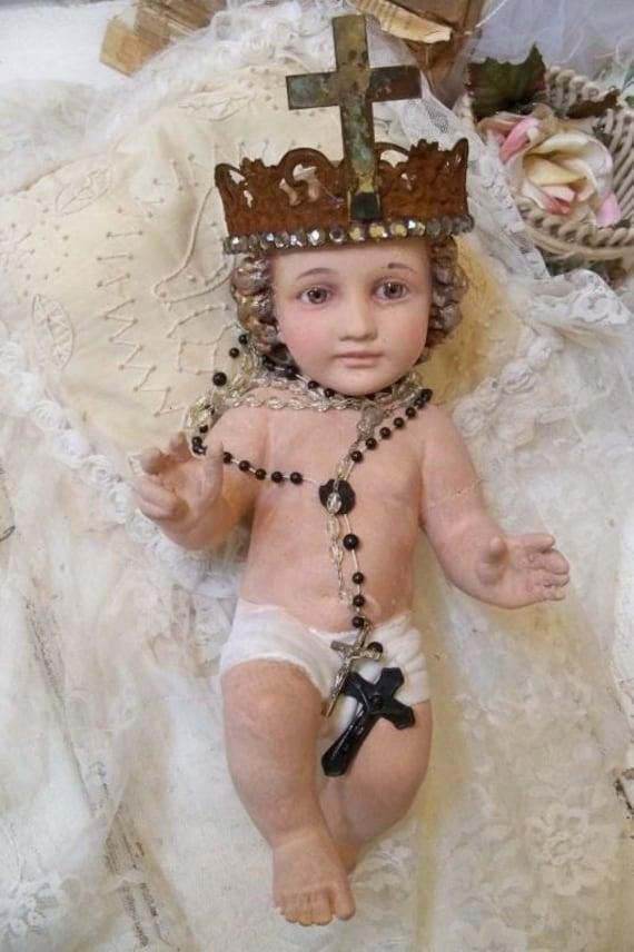 Infant Baby Jesus statue vintage plaster French Santos inspired glass eyes handmade crown Anita Spero