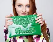 Clutch purse / vegan clutch bag / green vinyl handbag / embossed floral print / 100% vegan / fits phone & essentials / lucky green clutch