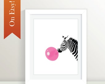 Zebra Print 8x10, 16x20, 20x30, 24x36, Zebra Bubblegum:  Black and Pink, Animal Art, Animal Print, Zebra, Black Zebra, Pink Zebra