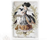 Halloween witch card, Marie Antoinette with crows, Gothic all occasion greeting