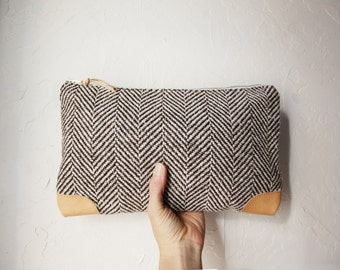 Herringbone Wool and Leather Clutch