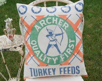 Grainsack Pillow LARGE-Archer Turkey Chicken Feed sack -Orange Green Blue and White  - Chick Food -18 x 22 inch