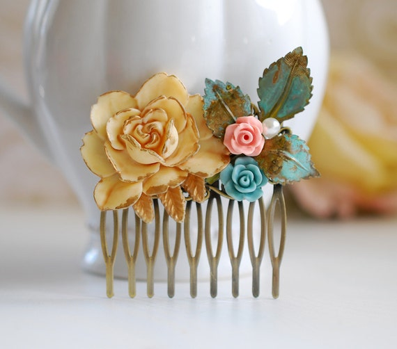 Shabby Chic Large Cream Ivory Rose Patina Leaf Pink Blue Flower Hair Comb. Rustic Vintage Collage Hair Comb. Woodland Wedding Hair Accessory