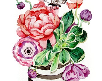 Succulent Watercolor Painting - Flowers - Print