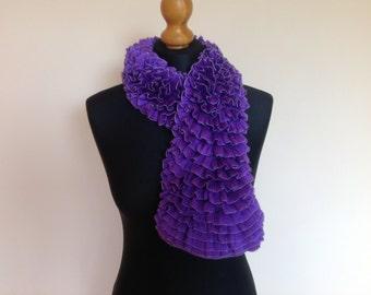 Jabot Neckwrap, Violet jabot, Knit Ruffle ladies scarf, gift for her