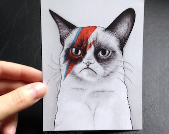 Grumpy Cat Card, David Bowie, Blank on Back, Mini Print, Funny Geek Meme
