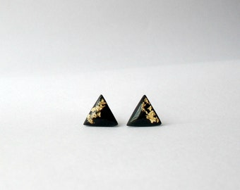 Black triangle post earrings with gold foil- Polymer clay jewelry- Modern stud earrings