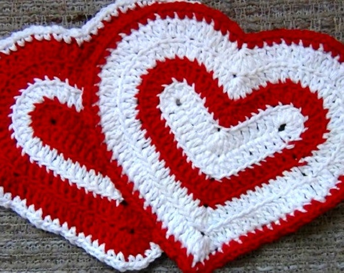 Heart Washcloth - Set of 2 - Red and White