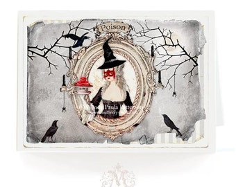 Halloween card, Halloween witch, gothic halloween holiday card, Marie Antoinette Halloween, crows, black, red, spiders, poison, full moon