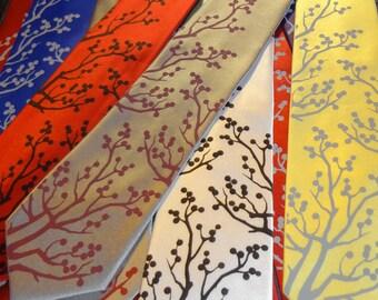 RokGear Winter Berries print - Men's necktie set of 2 ties,  custom colors available