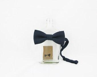 Nico - Midnight Navy Linen Men's Pre-Tied Bow Tie or Self-Tied Bow Tie