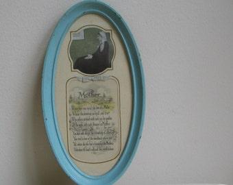 SALE Vintage Mother Motto Poem Wall Art Print, Chippy Blue Paint Metal Frame, Whistler's Mother, Nat. Art Nov. Co. Chicago