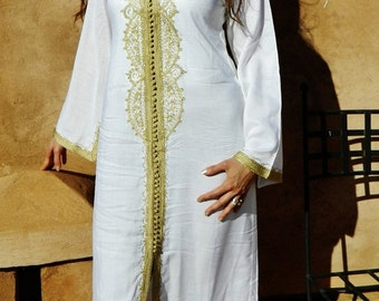 White with gold Moroccan caftan- for Ramada, Eid wear, abayas,resort wear, beachwear, maxi dress, birthday, maternity, honeymoon gifts